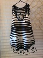 Lilly White Sleeveless Black White Striped Razor Back Silky Top - Small NWOT