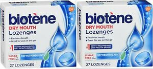 BIOTENE Dry Mouth LOZENGES Refreshing Mint SF w/ Xylitol 27 ct ( 2 pack )