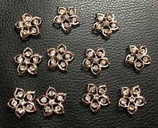 10 Rose Gold Flowers With Rhinestones Flatback Button ButtonCraft Wedding
