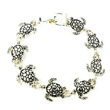 8 Turtle Chain Linked Sea Life Bracelet with Magnetic Foldover Clasp