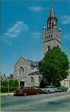 First Church Christ Scientist Street View Old Cars Truck Concord NH Postcard A16