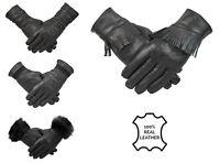 Womens Ladies Black Genuine Leather Gloves Fleece Lined Retro Vintage Suede Trim