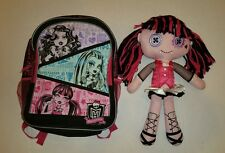"Monster High 18"" Plush Draculaura Cloth Doll and Full size Backpack- EUC"
