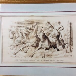 """Our """"Isthmian Games"""" Or A Gladstonian """" Derby Monogram E.M.B. 1874 Pen Brown Ink"""