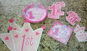 Girls 1st Birthday Party supplies baby girl first birthday plates napkins decor