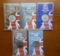 British - cased Crowns 1935 to 1981 - GEF OR BU
