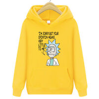 Men Women Rick Morty Hoodie Sweater Skateboard Solid Sweatshirts Pullover Coat D