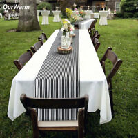 Cotton Linen Black & White Striped Table Runner Wedding Party Home Table Topper