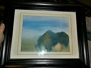 Original SM Signed Impressionistic Watercolor Painting Framed Art