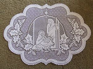 """Lace Table Doily/Placemat  Ivory Silent Night design   20"""" x 14"""""""