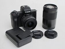 Canon EOS M50 with 15-45mm and 55-200mm zoom lenses, battery/charger US SELLER