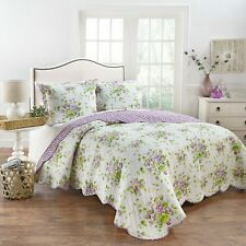 Waverly - Lilac Dreams - 3 Piece Reversible Quilt Set - 100% Cotton - FULL/QUEEN