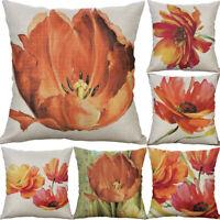 Tulip Print Cotton Linen Sofa Waist Cushion Cover Pillow Case Home Decor