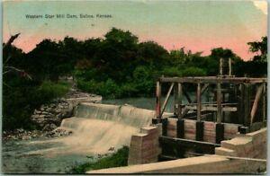 "Salina, Kansas Postcard ""Western Star Mill Dam"" River View / 1909 KS Cancel"