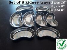 Professional Surgical KIDNEY TRAY DISH BASIN Stainless Steel set of 8 trays