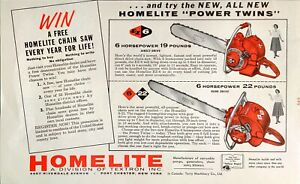 1957 Homelite Chain Saw Direct & Gear Drive Power Twins Vintage Print Ad