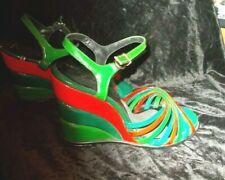 Rinaldo Felsotini Kimel 1970's Multi Color Wedge Heel Sandals About a Size 5 1/2