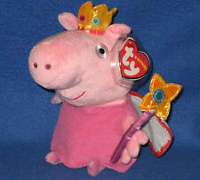 TY PRINCESS PEPPA PIG BEANIE BABY - NEW with NEAR MINT TAGS - UK EXCLUSIVE