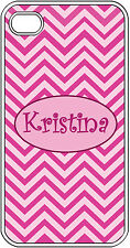 Personalized iPhone 4 4S Monogrammed Pink Chevron Design Hard Case Cover