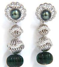 46CT Esmeralda Natural Diamante Pavo Real Tahitiano Perla Pendientes Colgantes