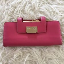 Kate Spade Wallet Clutch Metal Toggle Closure Red Pink
