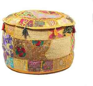 """Yellow 18x18"""" Indian Handmade Ottoman Pouf Cover Decor Round Vintage Footstool"""