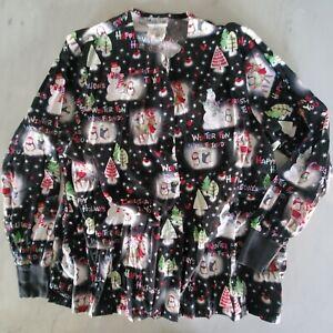 UA Scrubs - Long Sleeve Button-Up Top Women's XL  - Christmas Shirt
