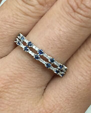 10k White Gold Natural Blue Sapphire Diamond Wedding Band Anniversary Ring Guard
