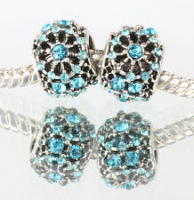 European Silver CZ Charm Beads Fit sterling 925 Necklace Bracelet Chain #F478