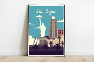 Las Vegas travel poster, Las Vegas retro wall print, USA vintage travel print 2