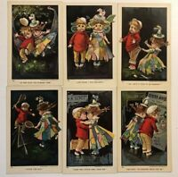 Set of 6 Julius Bien~Comic Children~Simple Life ~Antique Postcards-Unused~c229