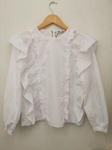 ZARA White Ruffle Frill Blouse Top Size M