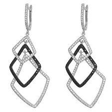 Hoop Dangle Sterling Silver Earrings Back & Clear Cz Triple Square