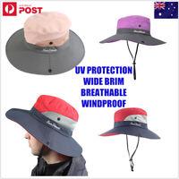 Unisex Wide Brim Ponytail Hat UV Visor Protection Summer Beach Hiking Cap Strap