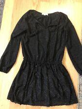 Michael Kors Small Dress Black Silver Sparkle Cinch Waist Long Sleeve