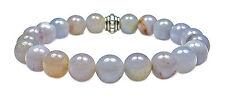 BRACELET - BLUE CHALCEDONY 8mm Round Crystal Bead w/Description - Healing Reiki