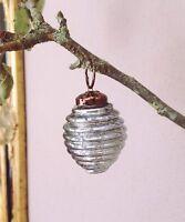 Small Blue Mercury Metalic Glass Bauble, Mini Shabby Chic Christmas Decoration