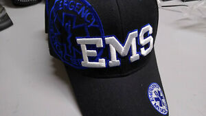 EMS CAP Silver Raised Lettering on Black w/Star of Life Embroidered Side/Brim