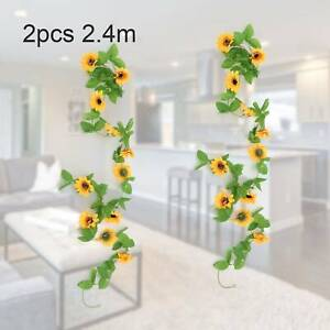 2*2.4M Artificial  Sunflower Garland Fake  False Flowers Ivy Leaf Plants Decor