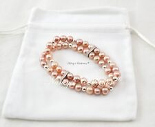 Sterling Silver 925 Pink Freshwater Pearls Two Layers Elastic Bracelet 17cm