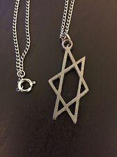1960s Vintage --- JEWISH STAR OF DAVID Chain Necklace Pewter Judaism Jew 60s NOS