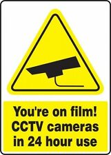 YOU'RE ON FILM! Security Sign, 24 x 18In, YEL and BK/WHT 1 PCS (FS1226)