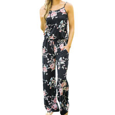 Women Floral Sexy Sleeveless Holiday Long Playsuits Rompers Summer Jumpsuit NEW