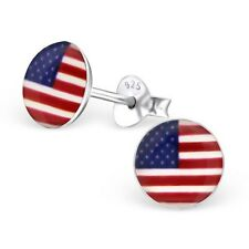 Sterling Silver 925 Round Stars & Stripes American Flag Stud Earrings
