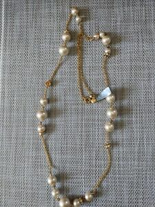 """J.Crew Pearl Long Pendant Necklace 31"""" Gold Tone NWT"""