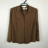 Chico's Blouse Size 3 Long Roll Tab Sleeve Brown Button Up Modal Blend Womens