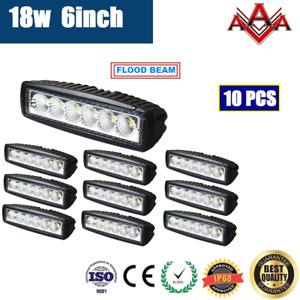 10x 18W 6INCH LED WORK LIGHT BAR LIGHT DRIVING LIGHT UTE AUTO 12V 24V FLOOD LAMP