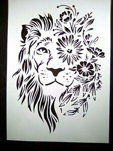 A4 Wall Stencil Reusable Template Floral Lion Home Decor Scrapbook Journal #1
