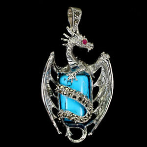 Octagon Blue Turquoise 19x12mm Marcasite Ruby 925 Sterling Silver Dragon Pendant