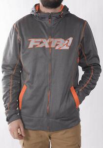 FXR Mens Grey Heather/Orange Trainer Tech Zip-Up Hoody Hoodie Fleece